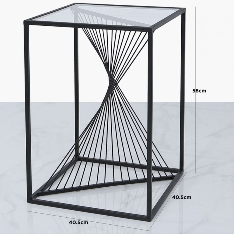 Cheadle Black Metal and Glass End Table
