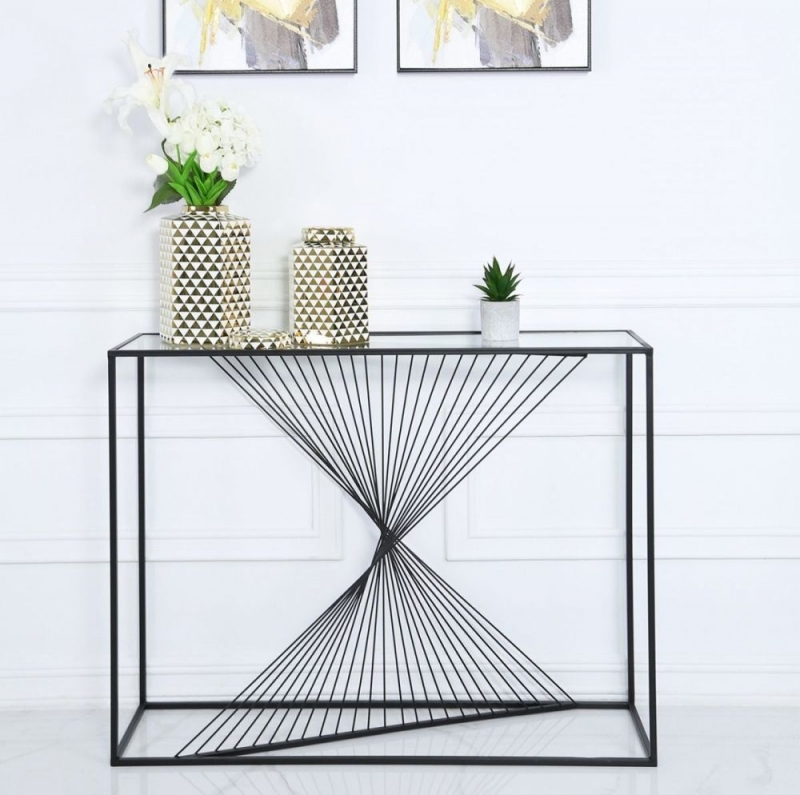 Cheadle Black Metal and Glass Console Table