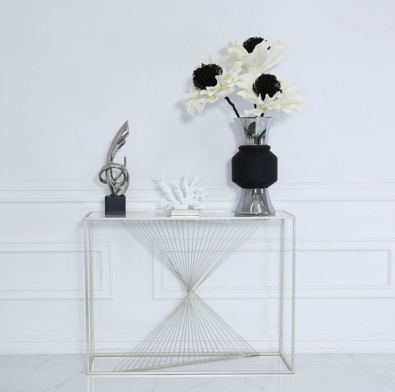 Cheadle Silver Metal and Glass Console Table