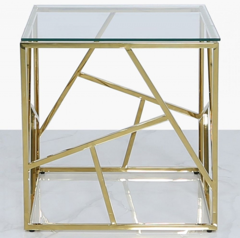 Haslemere Gold Metal and Glass End Table