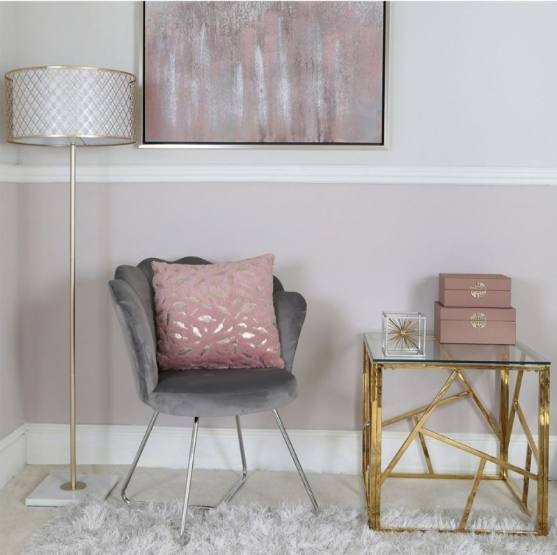 Haslemere Glass and Gold Square End Table