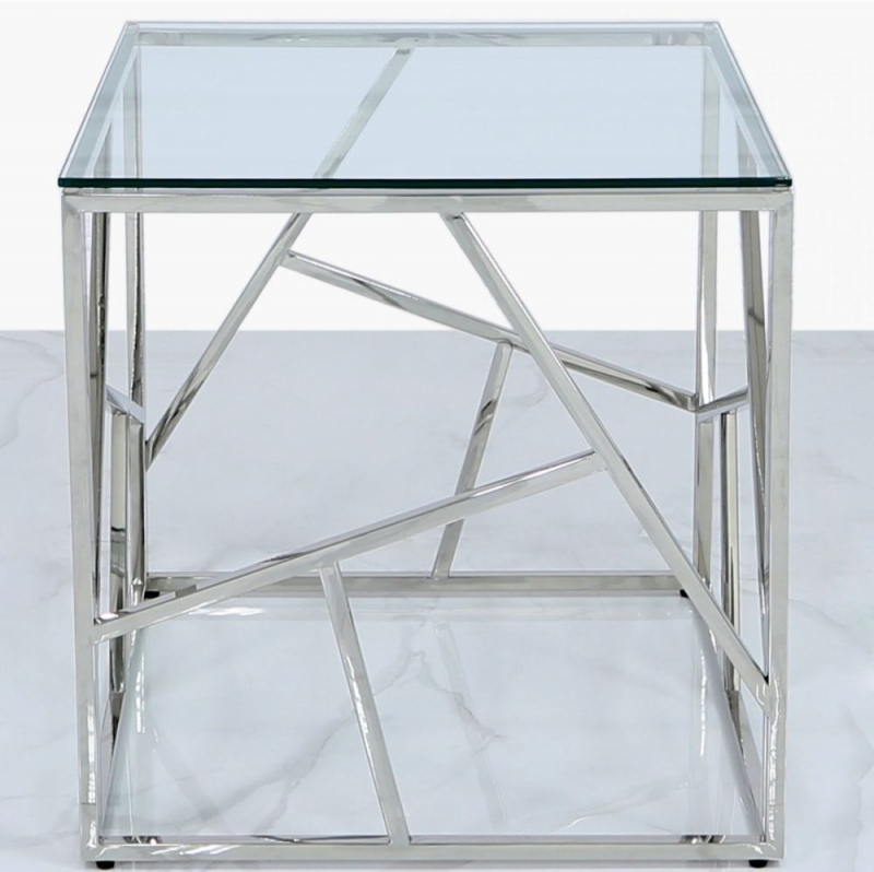 Haslemere Stainless Steel and Glass End Table