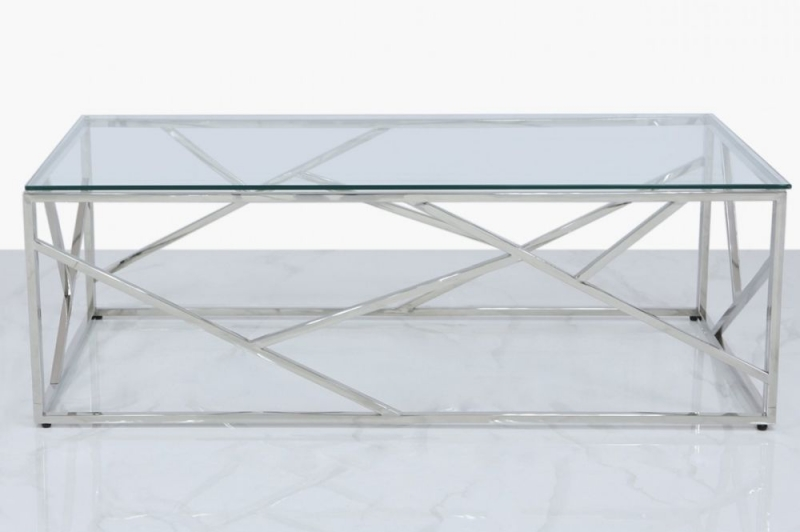 Haslemere Stainless Steel and Glass Coffee Table