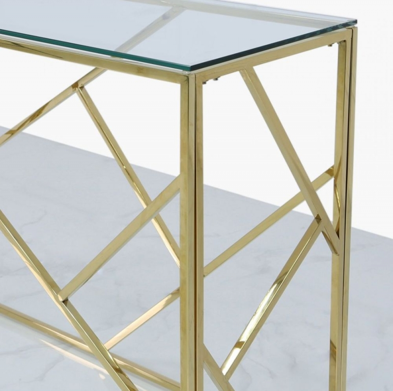 Haslemere Gold Metal and Glass Console Table