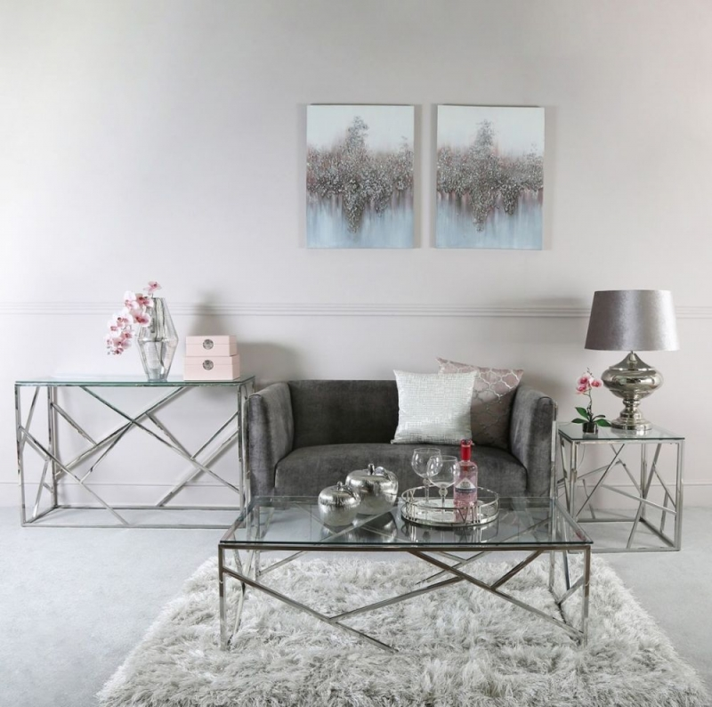 Haslemere Stainless Steel and Glass Console Table