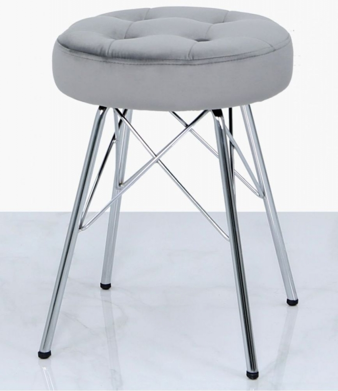 Newlyn Silver Tufted Stool (Set of 2)