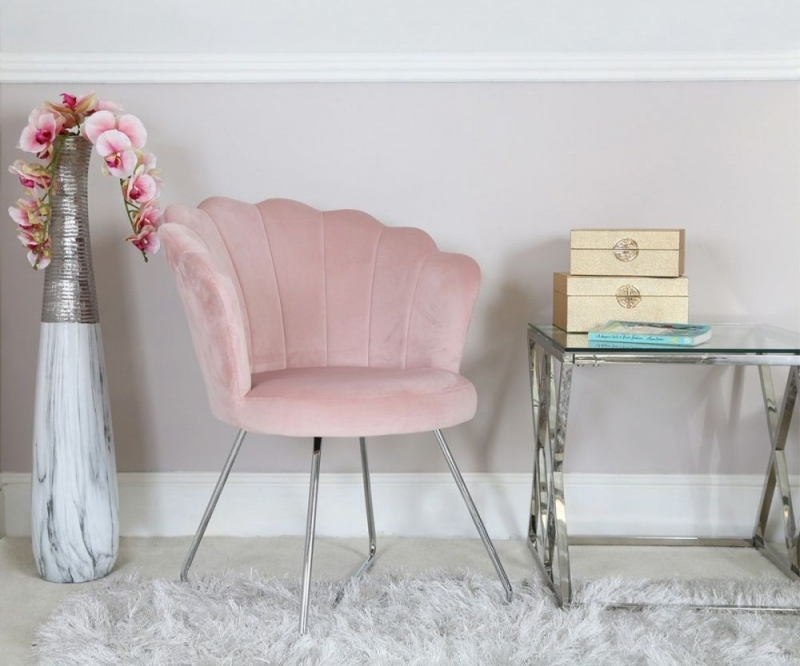 Bicester Light Pink Fabric Dining Chair (Pair)