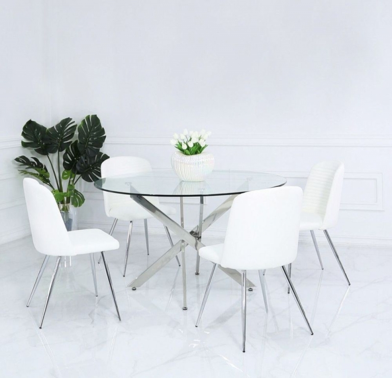Chard White Faux Leather Dining Chair (Pair)