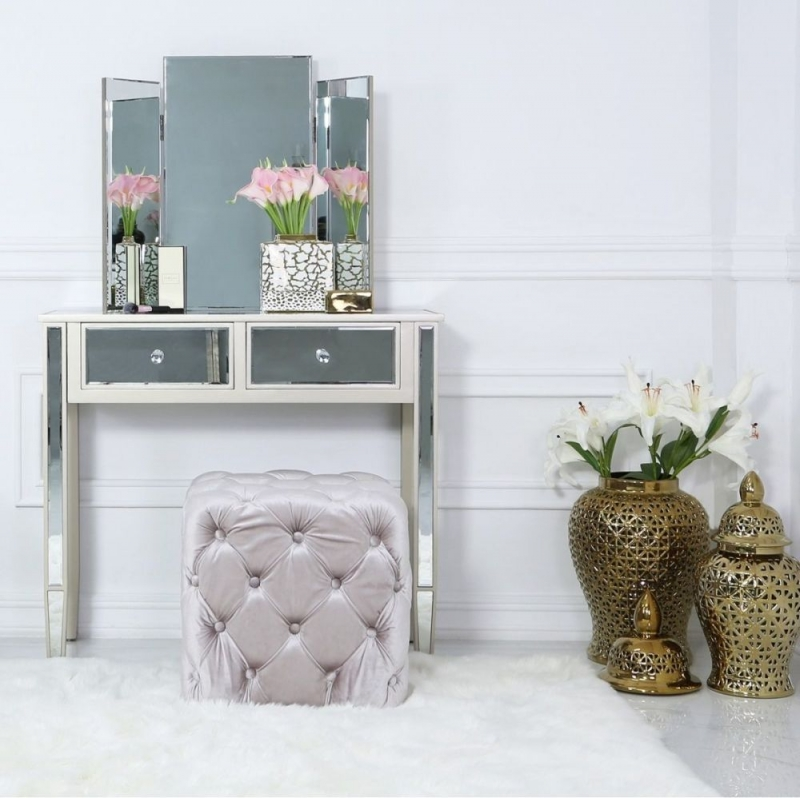 Newent Soft Pink Tufted Stool