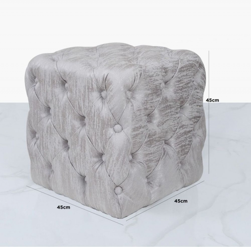 Newent Silver Tufted Stool