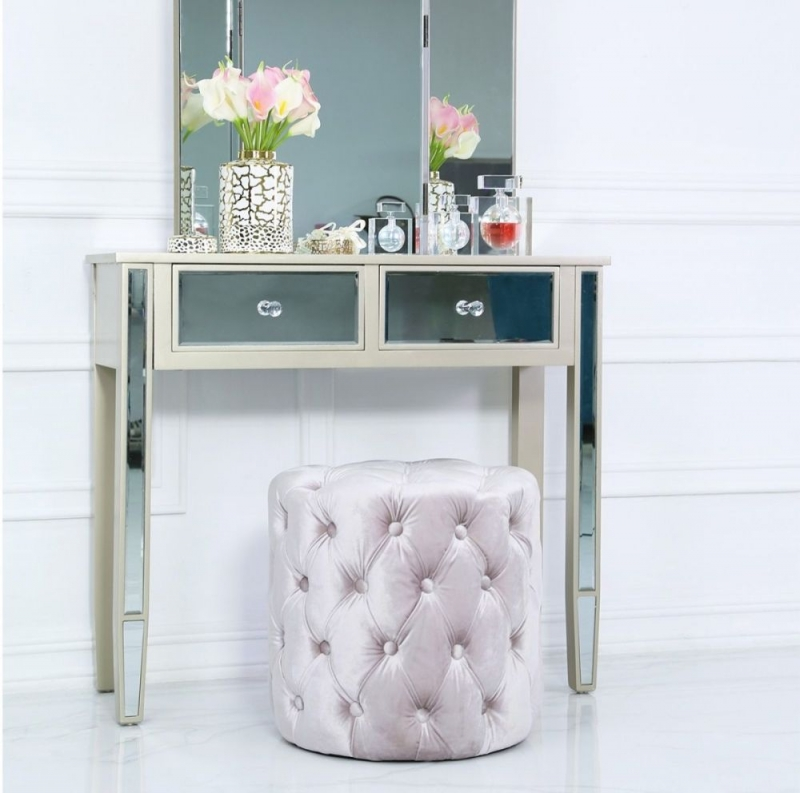 Prescot Soft Pink Tufted Stool