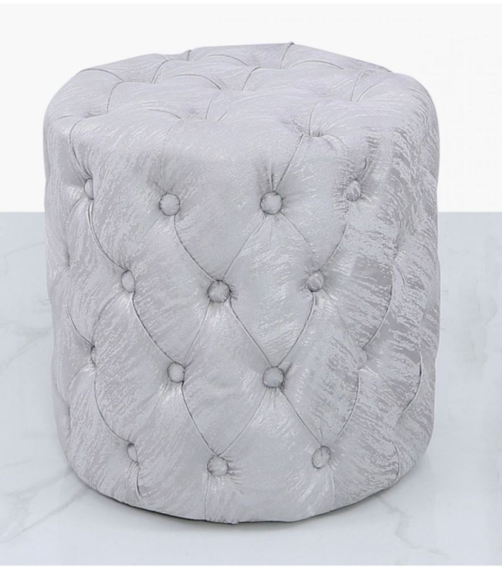 Prescot Silver Tufted Stool