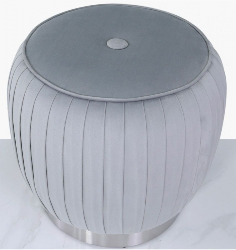 Selsey Grey Round Footstool