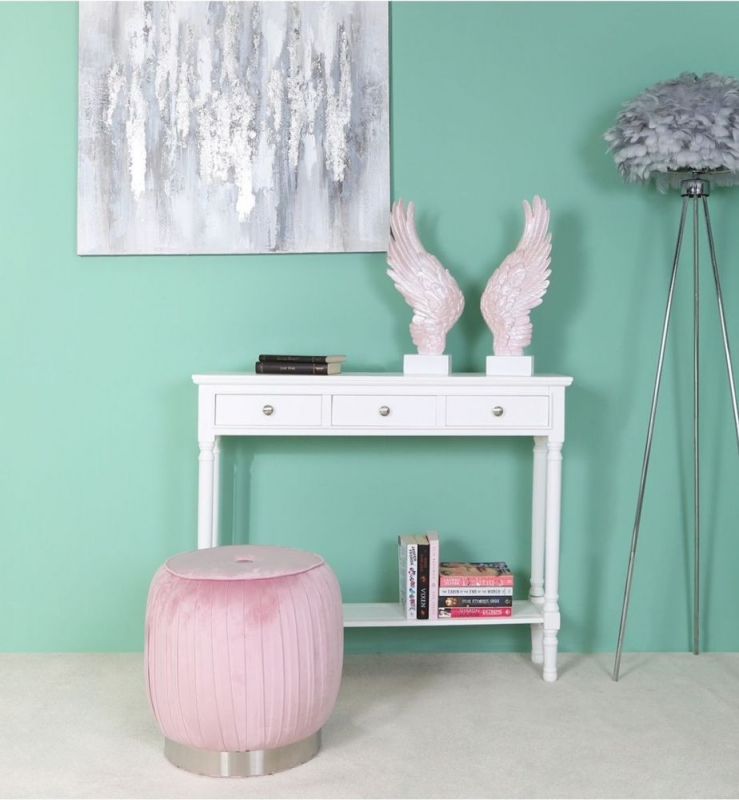 Selsey Blush Pink Round Footstool
