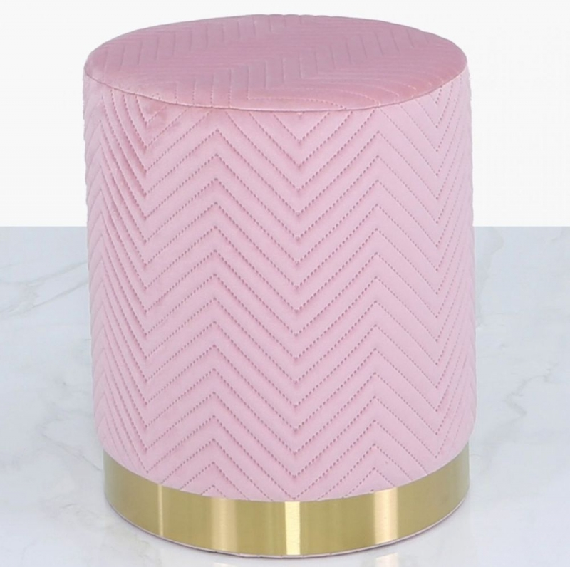 Selsey Blush Pink Patterned Round Footstool