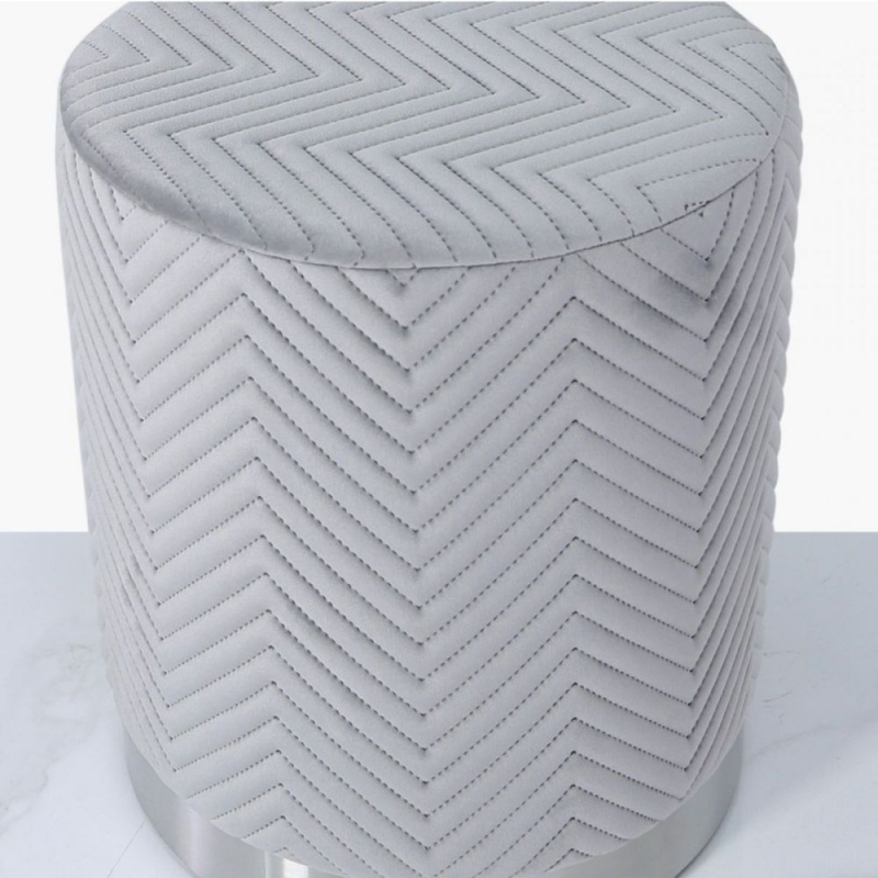 Selsey Grey Patterned Round Footstool