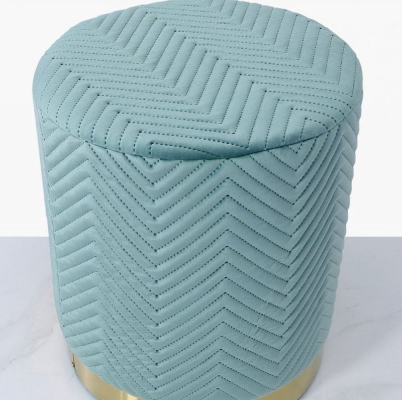 Selsey Mint Green Patterned Round Footstool