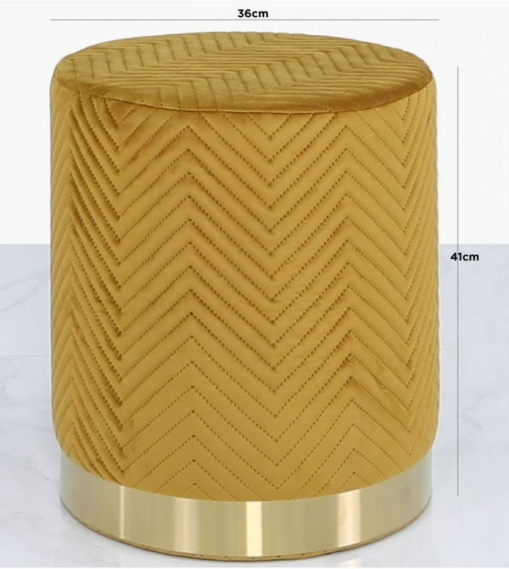 Selsey Mustard Yellow Patterned Round Footstool
