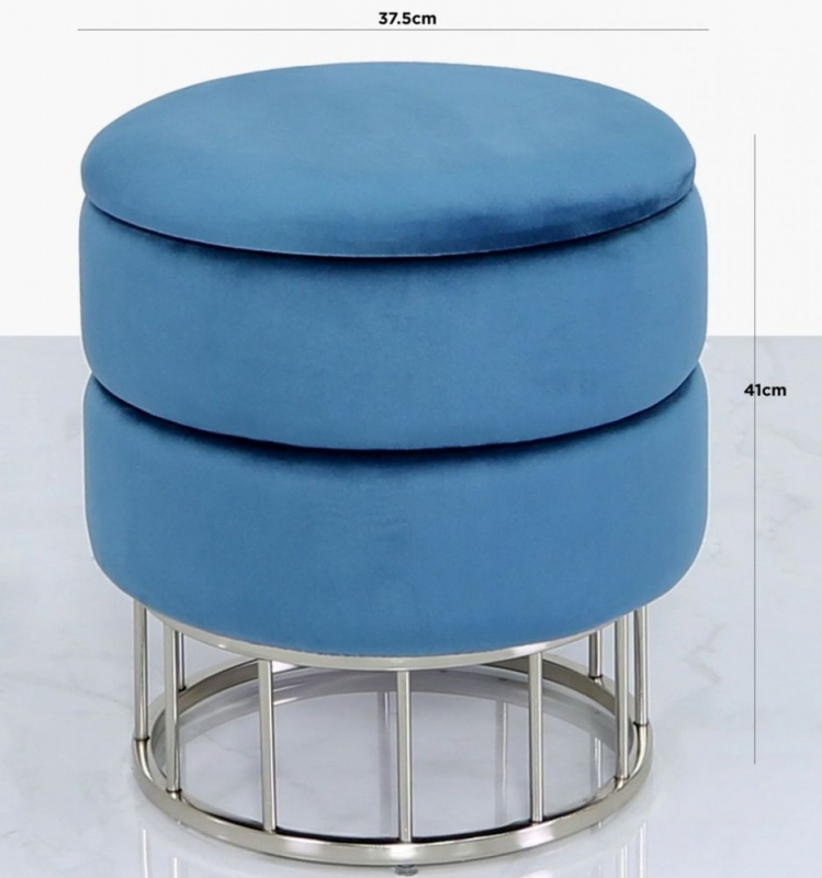 Selsey Prussian Blue Round Storage Stool