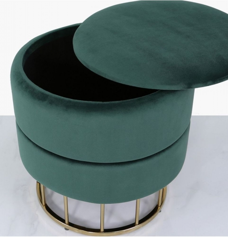Selsey Forest Green Round Storage Stool