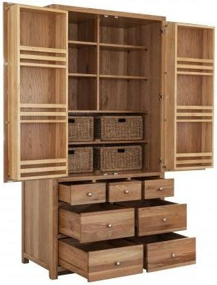 Handmade Oak 2 Door 7 Drawer Tall Larder Cabinet
