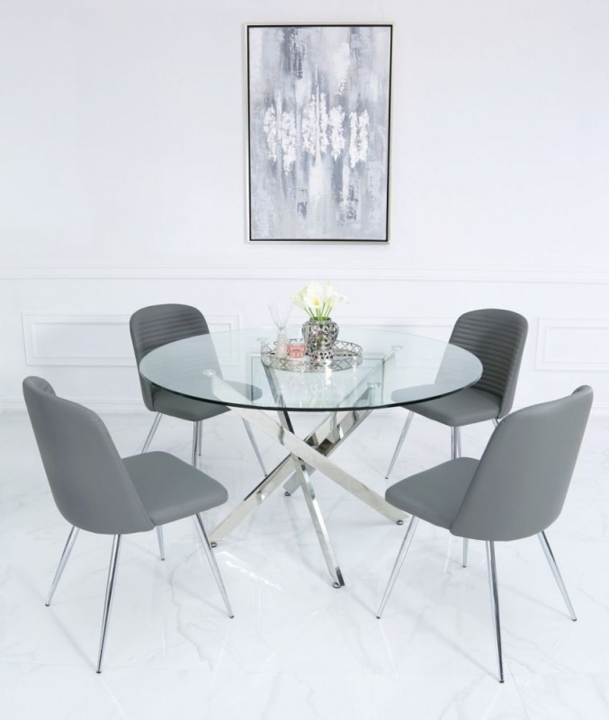 Nanty 130cm Round Dining Table and 4 Chard Grey Chairs - Glass and Chrome