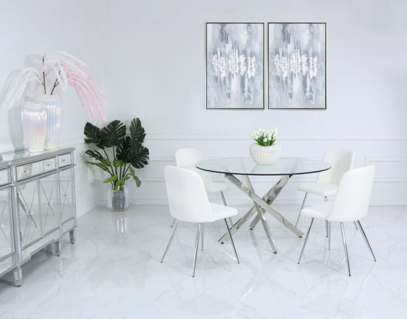 Nanty 130cm Round Dining Table and 4 Chard White Chairs - Glass and Chrome