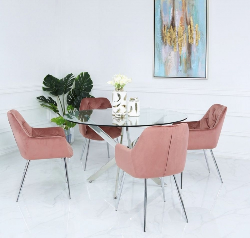 Nanty 130cm Round Dining Table and 4 Clare Pink Chairs - Glass and Chrome