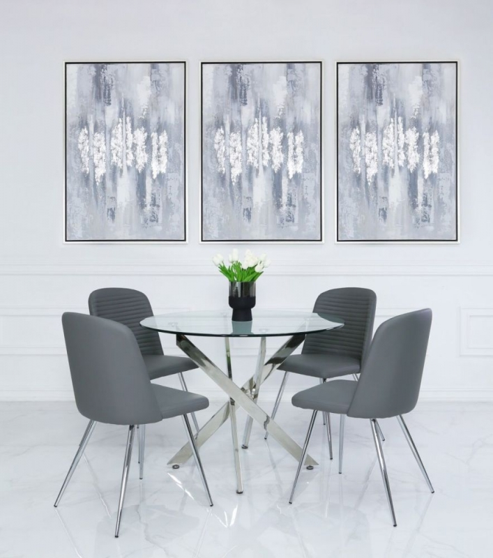 Nanty 100cm Round Dining Table and 4 Chard Grey Chairs - Glass and Chrome