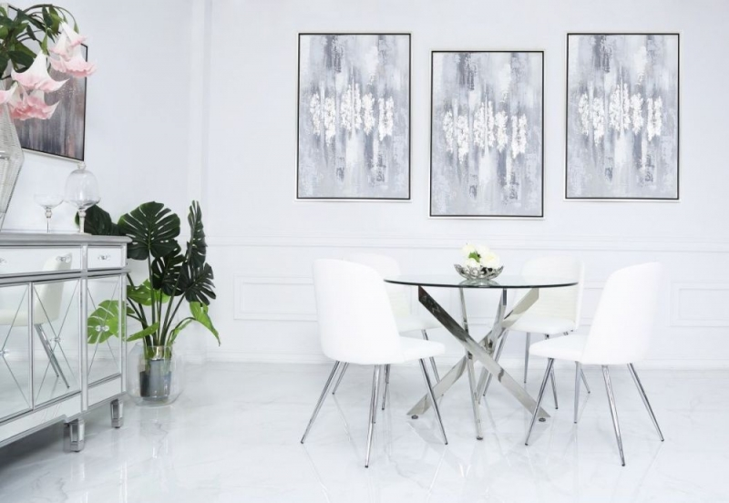 Nanty 100cm Round Dining Table and 4 Chard White Chairs - Glass and Chrome