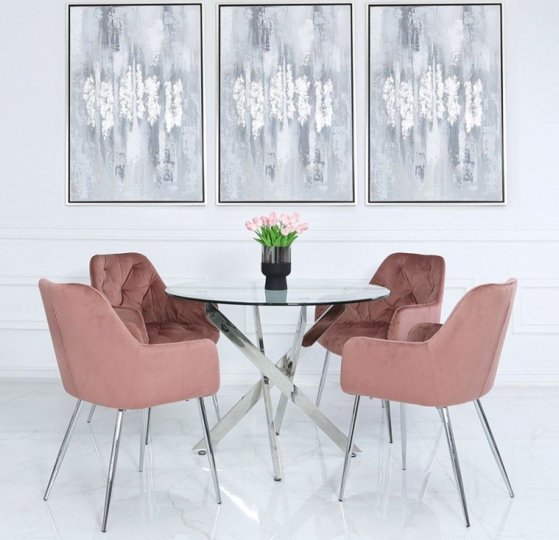 Nanty 100cm Round Dining Table and 4 Clare Pink Chairs - Glass and Chrome