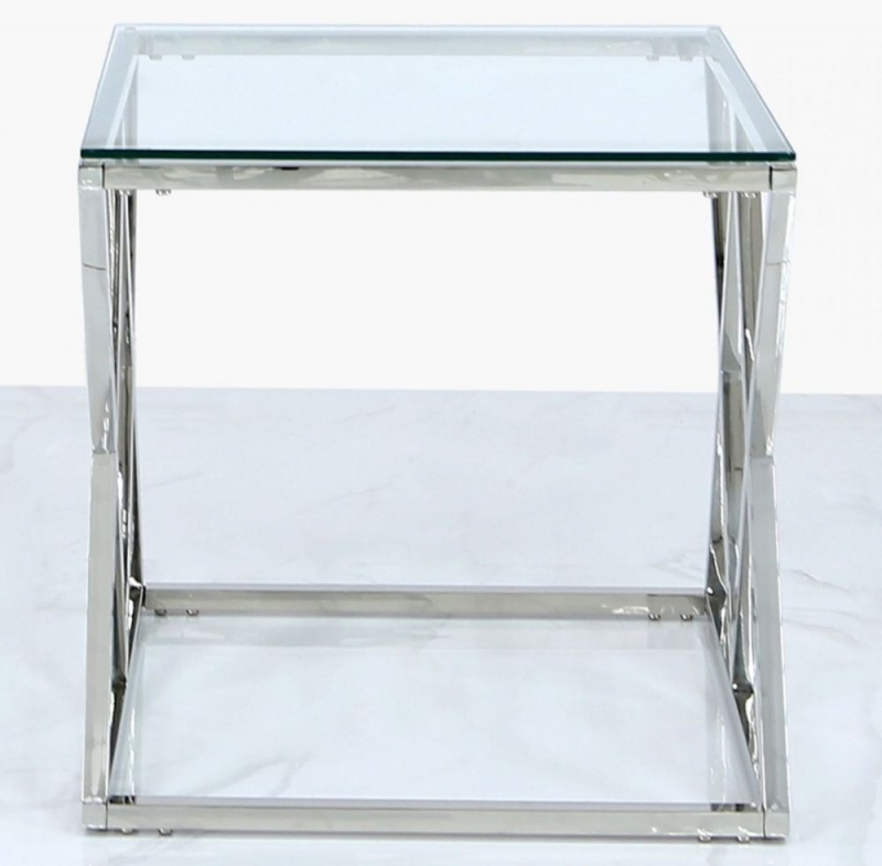 Fowey End Table - Glass and Chrome