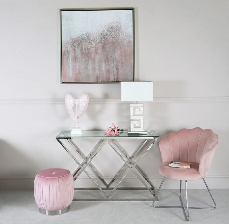 Fowey Console Table - Glass and Chrome