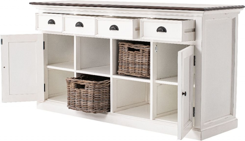 Nova Solo Halifax White Painted 4 Basket Accent Buffet