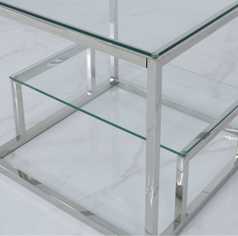 Haxby Tiered End Table - Steel and Clear Glass