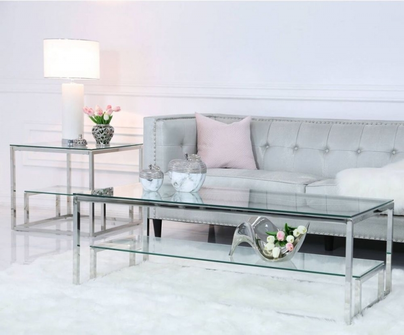 Haxby Tiered Coffee Table - Steel and Clear Glass