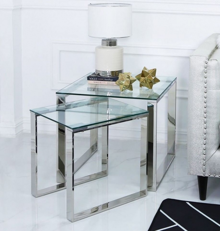 Haxby Nest of 2 Table - Steel and Clear Glass