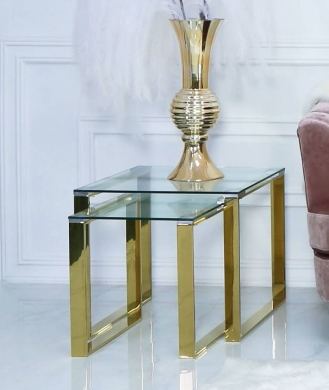 Haxby Nest of 2 Table - Gold Steel and Clear Glass