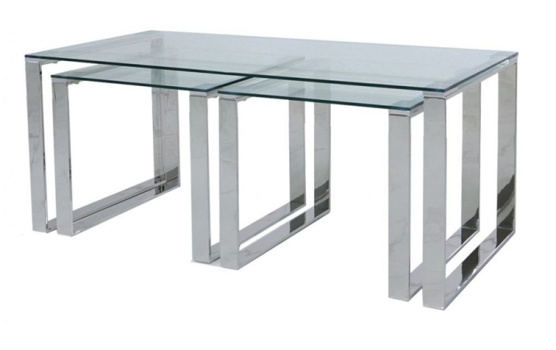 Haxby Nest of 3 Table - Steel and Clear Glass