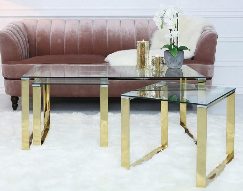 Haxby Nest of 3 Table - Gold Steel and Clear Glass