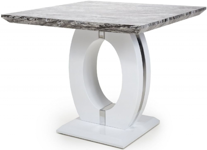 Shankar Neptune High Gloss White with Grey Marble Effect Square Dining Table