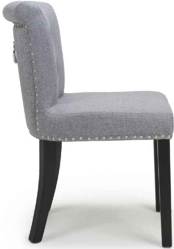 Shankar Sandringham Silver Grey Linen Fabric Accent Dining Chair (Pair)