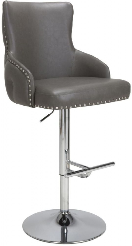 Shankar Cairo Grey Leather Bar Stool