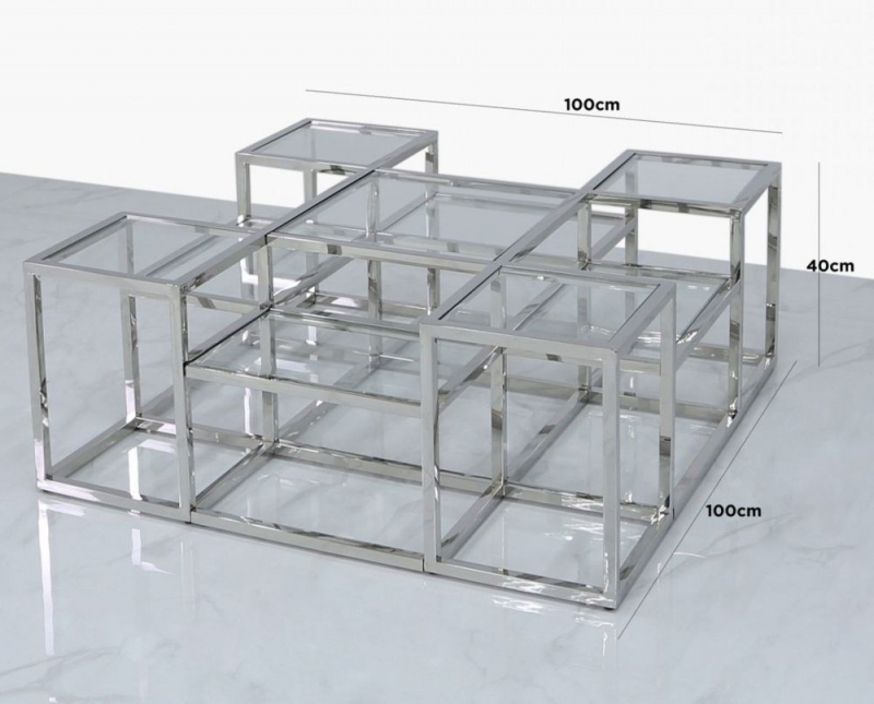 Penryn Coffee Table - Glass and Chrome
