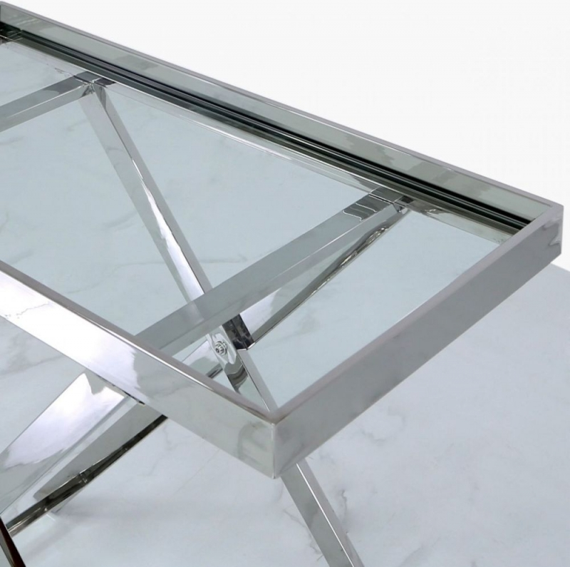 Pershore Console Table - Glass and Chrome
