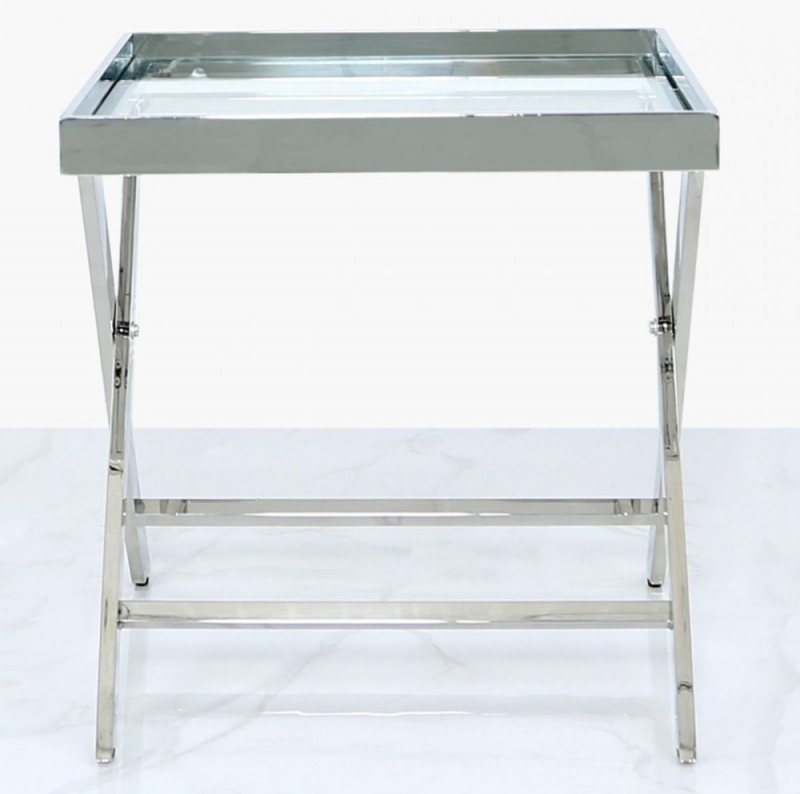 Pershore End Table - Glass and Chrome