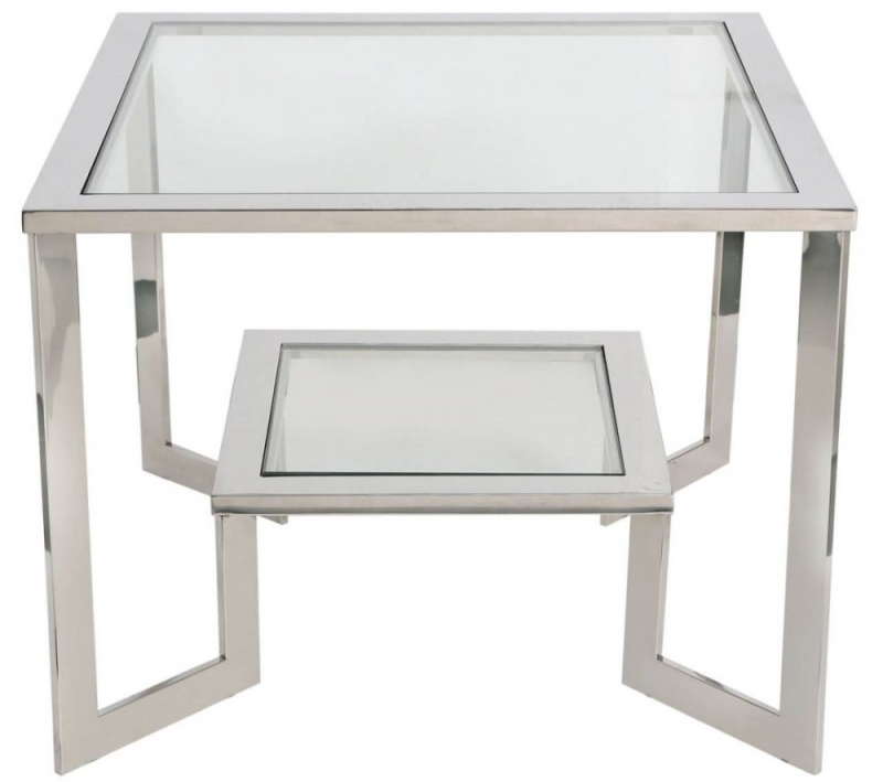 Wooler End Table - Glass and Chrome