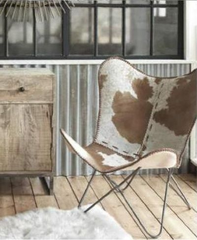 Iron and Cowhide Leather Butterfly Chair - Tan and White