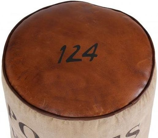 Leather and Fabric France Round Pouffe