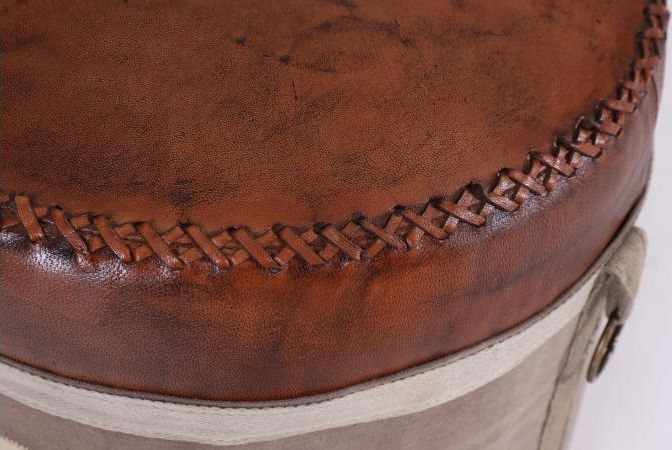 Round Stool with Deep Leather Pad